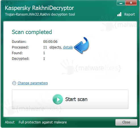 RakhniDecyptor Scan Completed
