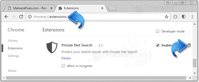 Private Net Search Extension
