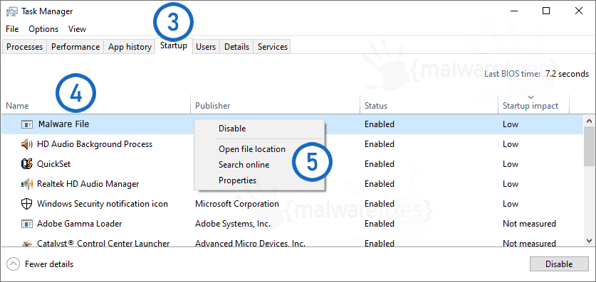 Screenshot of Startup items