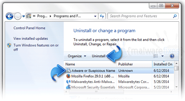 Uninstall Malware