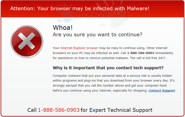 Your browser may be infected pop-up image