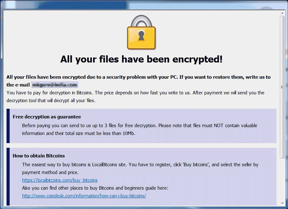Fresh Ransomware Note