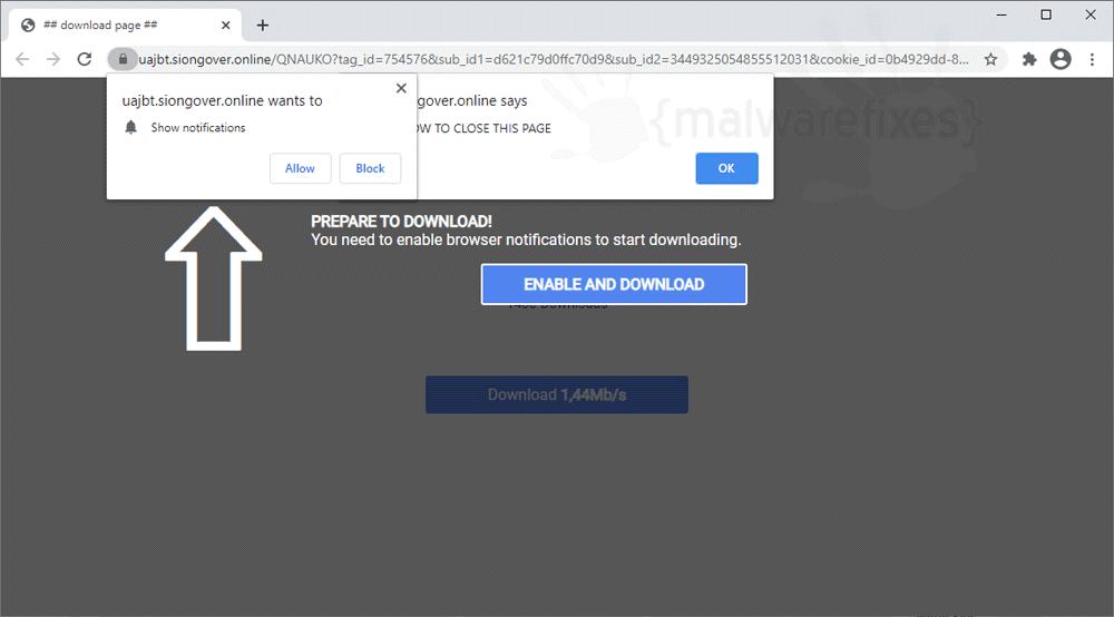 Screenshot of Siongover.online website