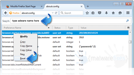 Firefox Reset Config