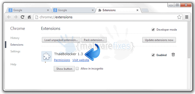 Screenshot of ThaeBolocker 1.3 extension