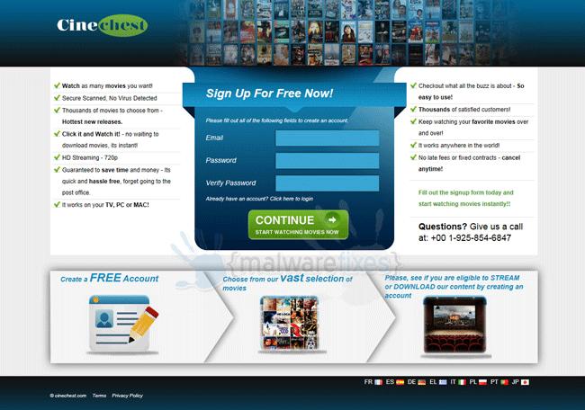 Screenshot of CineChest.com website