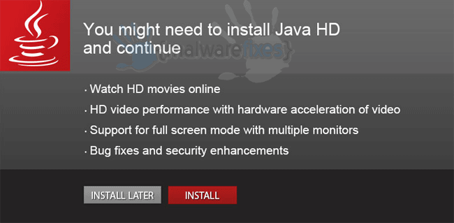 Screenshot of You might need to install Java HD pop-up