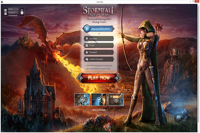 Screenshot of StormFall website