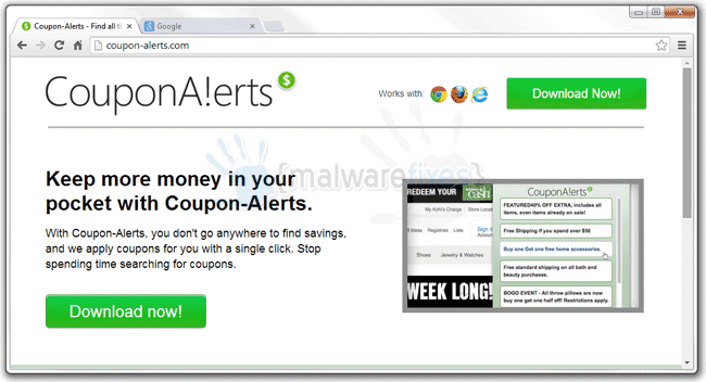 Image of CouponAlerts website