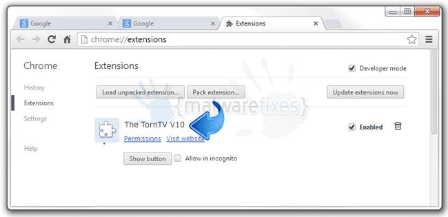 Screenshot of The TornTV V10 interface