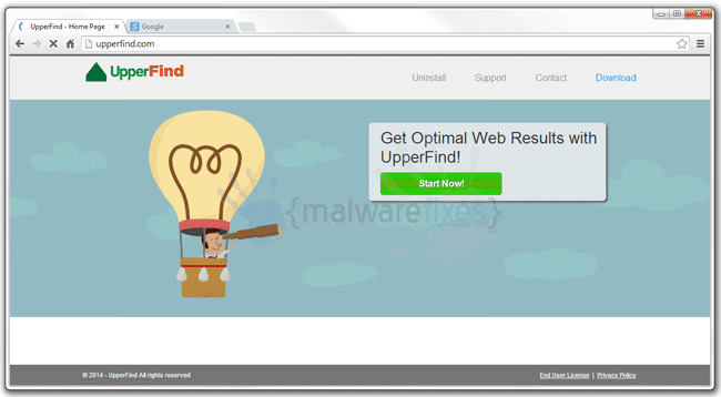 Screenshot image of UpperFind website