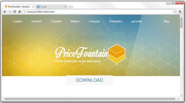 Screenshot of Price Fountain website