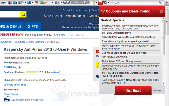 Screenshot of TopDeal Ads