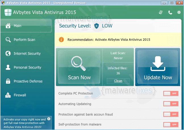 AVbytes Vista Antivirus 2015