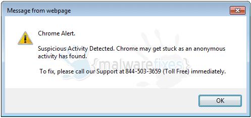 "Chrome Alert. Suspicious Activity Detected."""