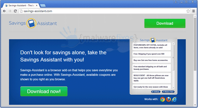 Image of Savings Assistant website