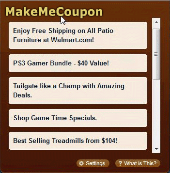 Screenshot of MakeMeCoupon