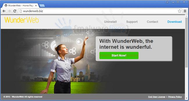 Screenshot of Wunderweb website