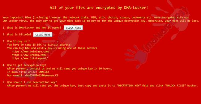 Image of DMA-Locker ransom note