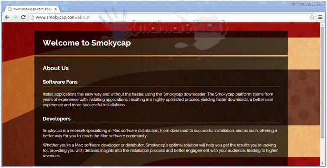 Screenshot of Smokycap website