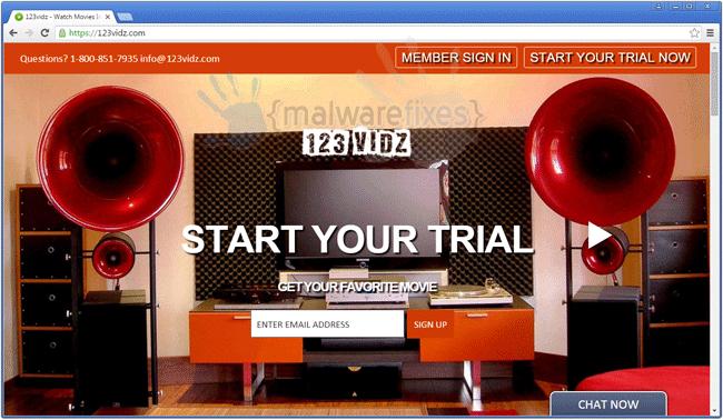 Screenshot of 123Vidz home