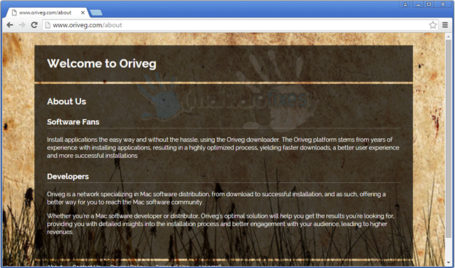 Screenshot of Oriveg website