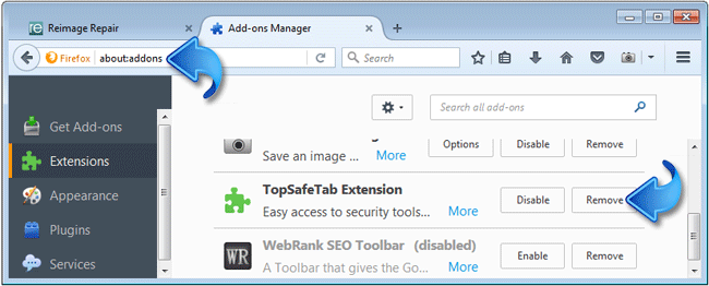 Search.topsafetab.com Extension Firefox