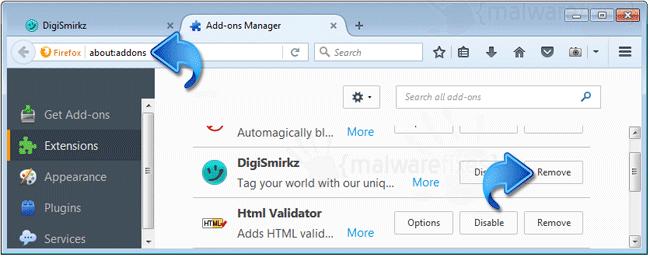 Delete DigiSmirkz Firefox Extension