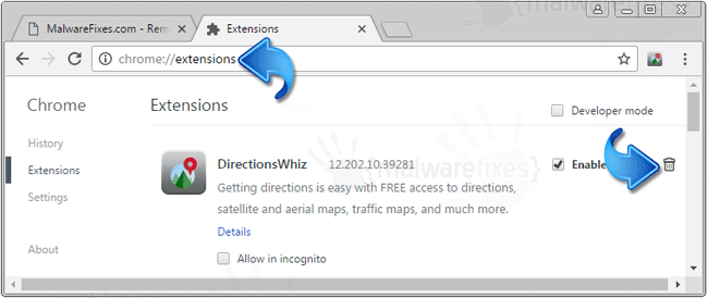 DirectionsWhiz Toolbar Chrome Extension