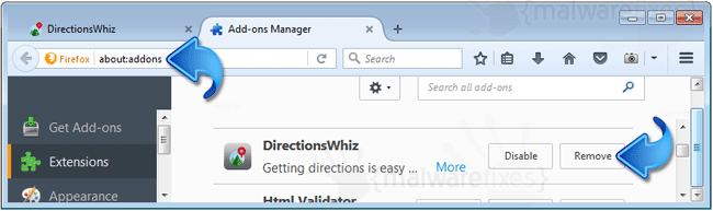 DirectionsWhiz Toolbar Firefox Extension