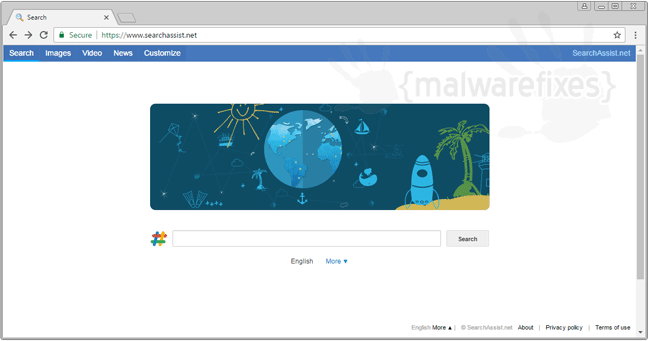 Screenshot of Searchassist.net website