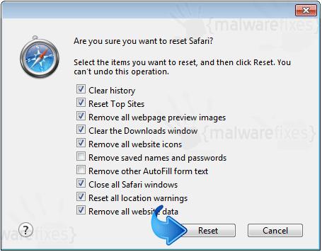 Reset Safari