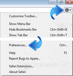 Safari Menu Settings