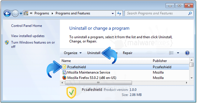 Add-Remove PCSafeShield