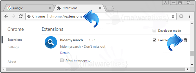 Hidemysearch Chrome Extension