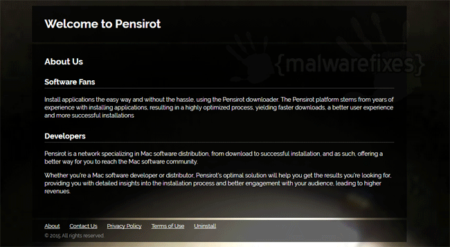 Screenshot of Pensirot website