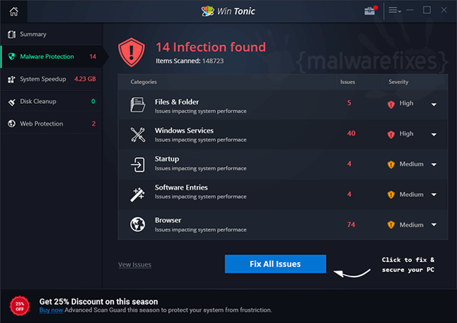 remove win tonic uninstall guide malwarefixes. Black Bedroom Furniture Sets. Home Design Ideas