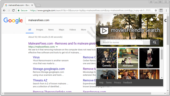 Screenshot of MoviesFriendly Search