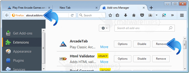 ArcadeTab Firefox Extension