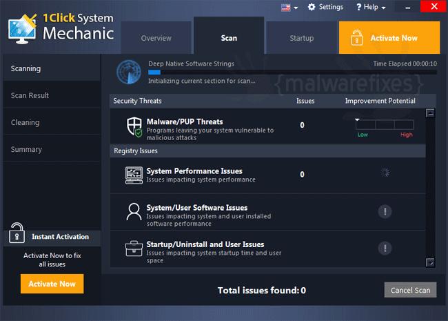 Screenshot of 1Click System Mechanic scanner