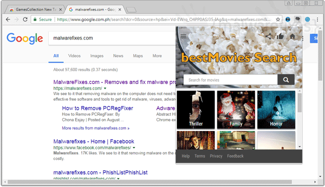 Image of BestMovies Search adware