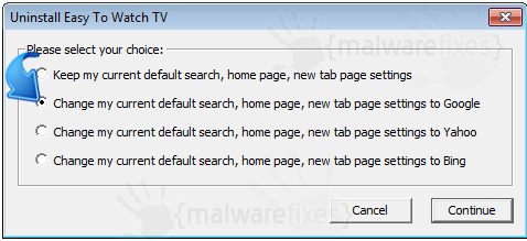 Delete Easy To Watch TV from homepage