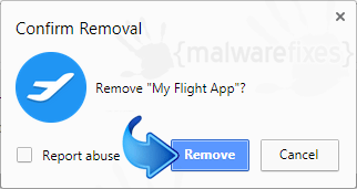 Delete My Flight App from Chrome