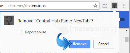 Delete Central Hub Radio from Chrome