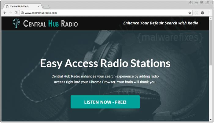 Screenshot of Central Hub Radio website