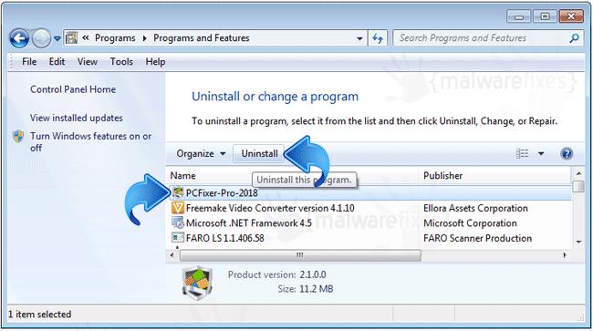 Add-Remove PCFixer Pro 2018