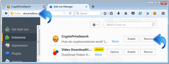 CryptoPriceSearch Firefox Extension