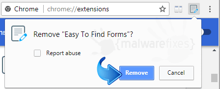 Delete Easy To Find Forms from Chrome