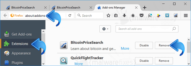 BitcoinPriceSearch Firefox Extension