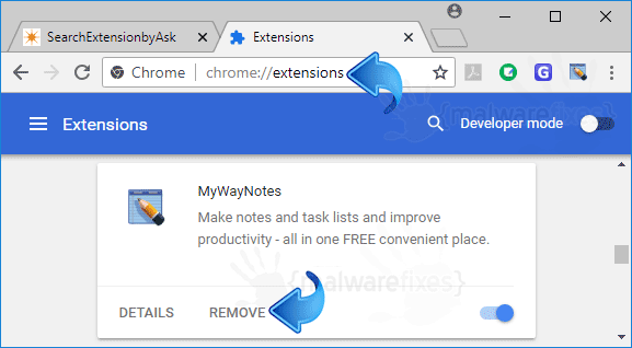 MyWayNotes Chrome Extension